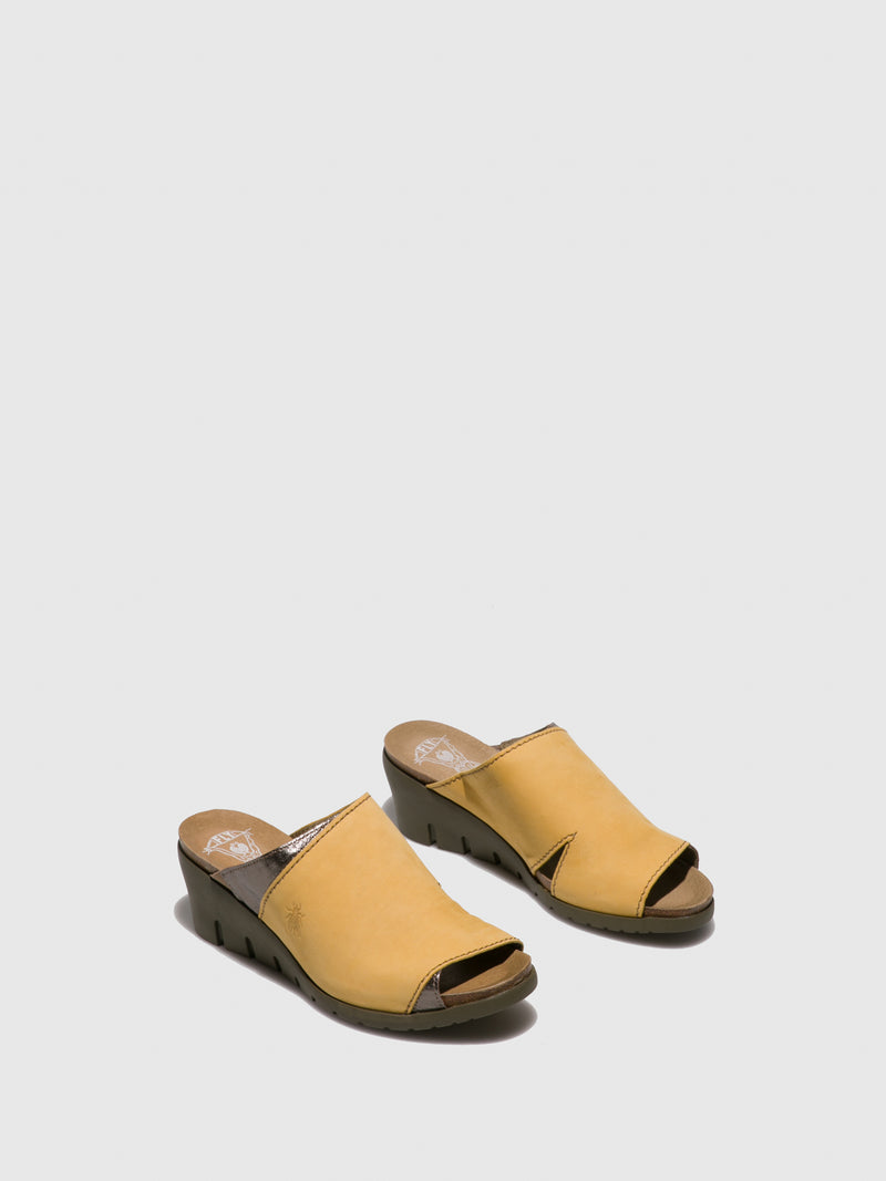 Fly London Yellow Open Toe Mules
