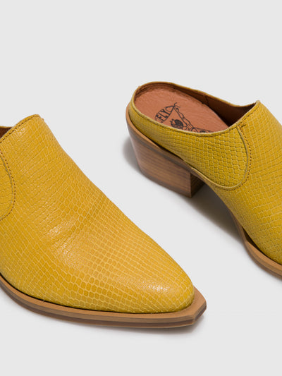 Fly London Yellow Closed Mules
