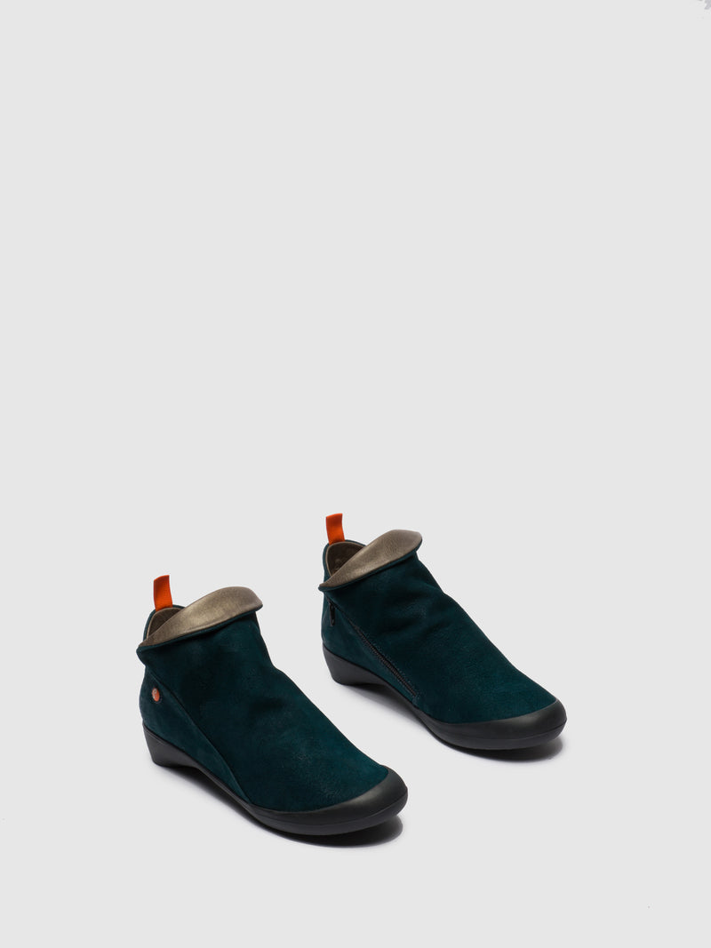 Softinos DarkGreen Zip Up Ankle Boots
