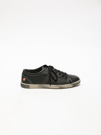 SOFTINOS Coal Black Lace-up Sneakers
