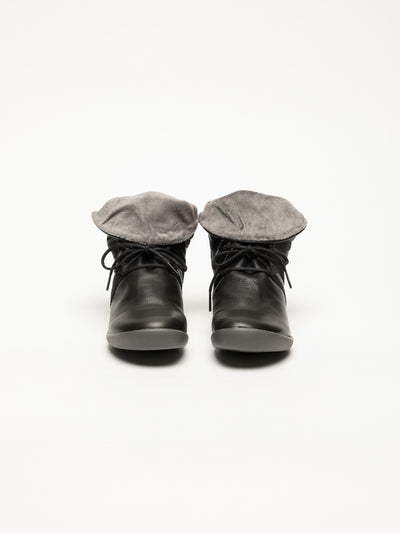 SOFTINOS Black Fluff Ankle Boots