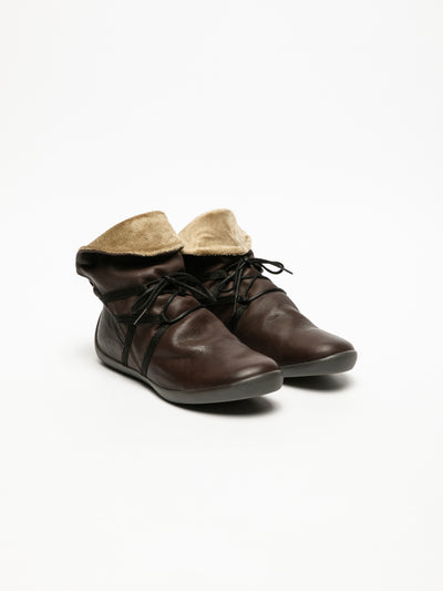 SOFTINOS Brown Fluff Ankle Boots