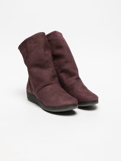 SOFTINOS Purple Wedge Ankle Boots