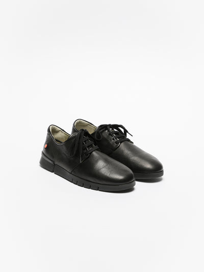 SOFTINOS Matte Black Lace-up Sneakers