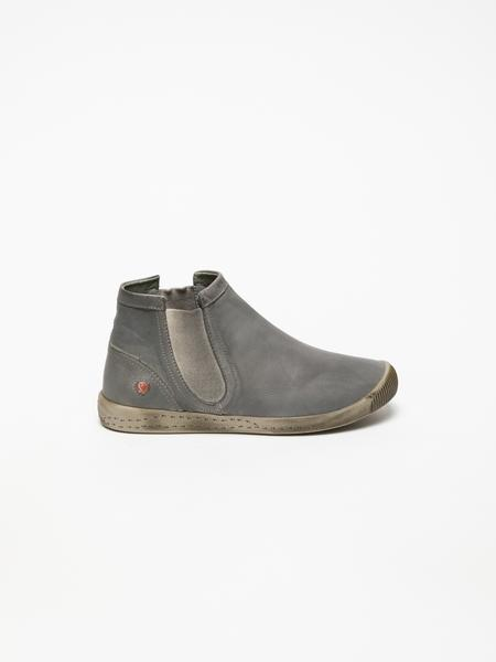 SOFTINOS Gray Round Toe Ankle Boots