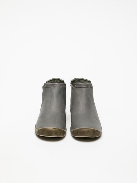 Gray Round Toe Ankle Boots