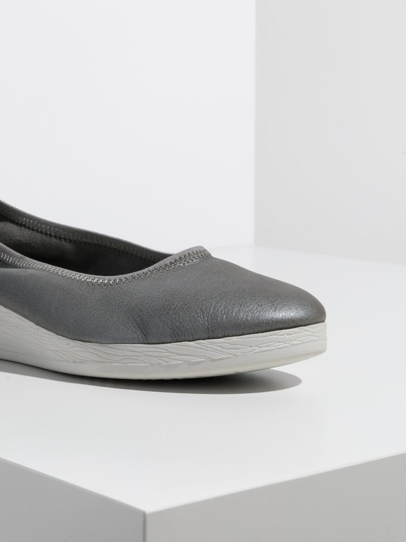 Silver Elasticated Ballerinas