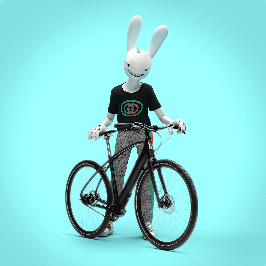 Guggi standing with a Budnitz Bicycles Model E electric bicycles