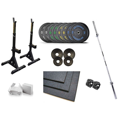 Squat Stands Bumpers Olympic Barbell Flooring Package