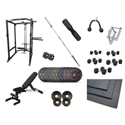 Power Rack Lat FID bench Bumpers Barbell Dumbbell Flooring Pack
