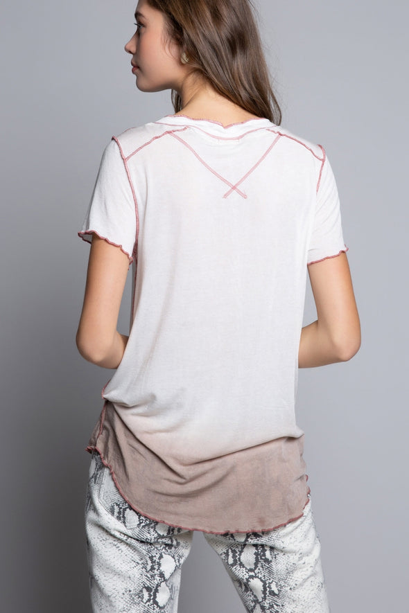 Off White & Rose Henley Tunic