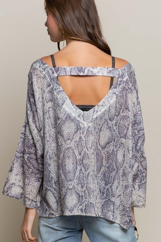 Taupe & Grey Snake Lightweight Sweater