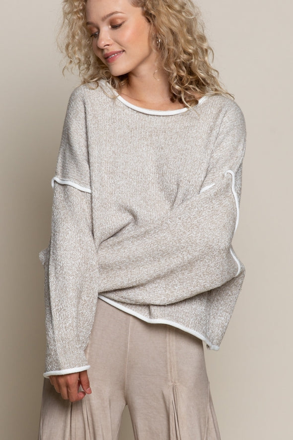 Heather Taupe & Cream Sweater