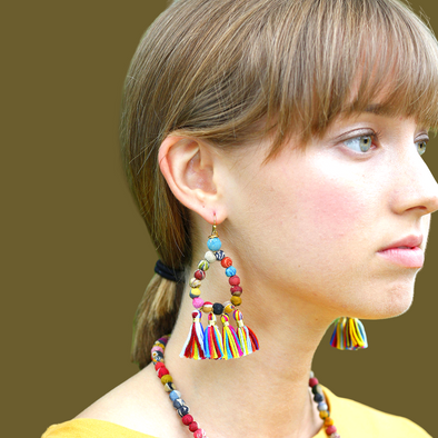 Beaded Kantha Earrings