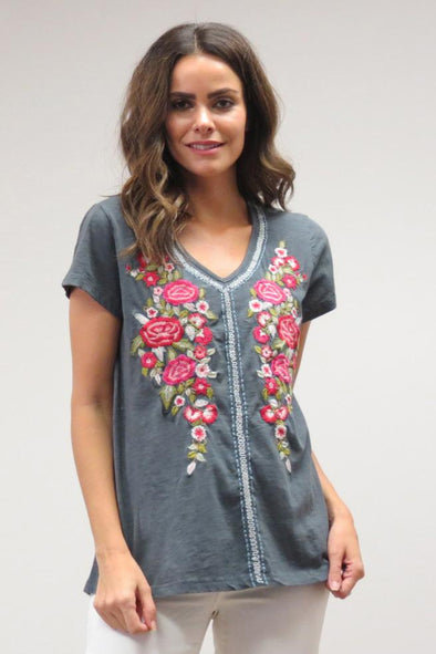 Caite Embroidered Tee