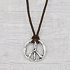 Leather Peace Sign Necklace