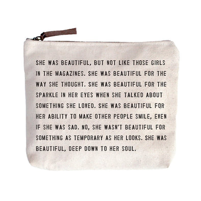She Was Beautiful Canvas Pouch