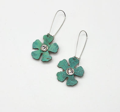 J Parkes Turquoise Leather Flower Earrings
