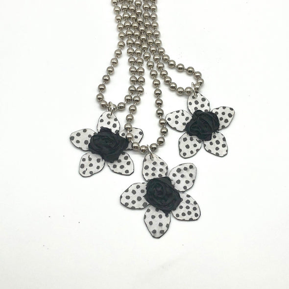 J. Parkes Metal Flower Necklace Black Center