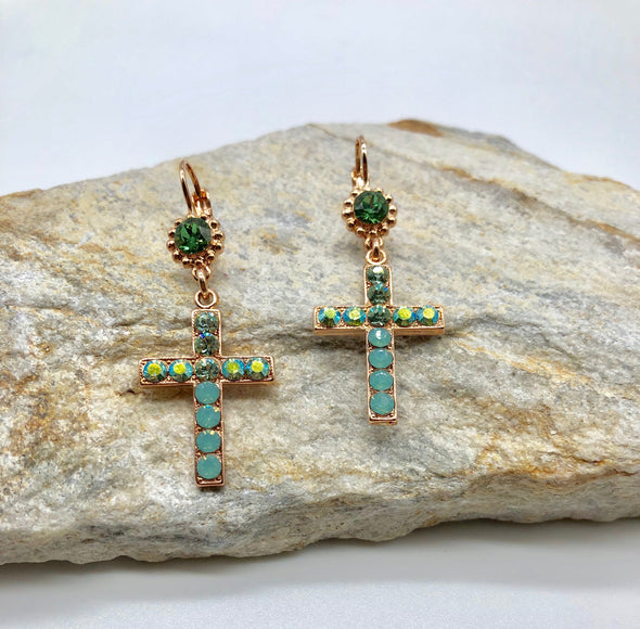 Mariana Crystal Cross Earrings