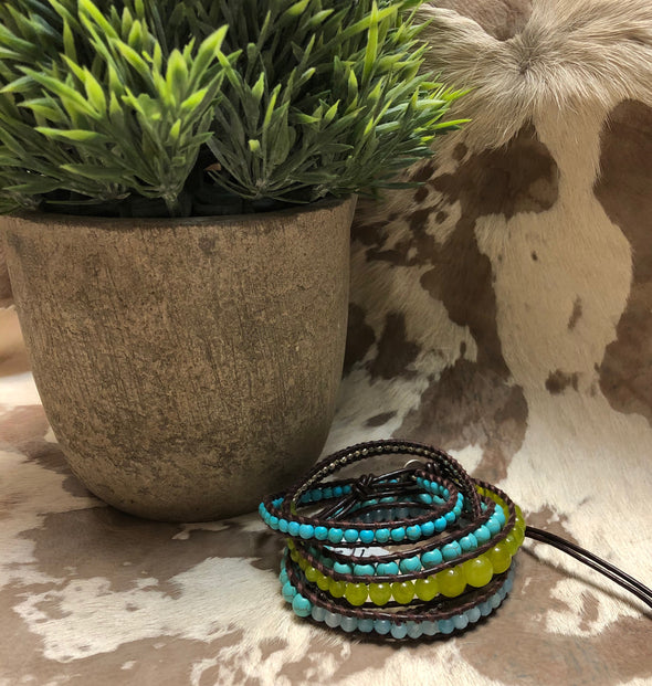 Turquoise & Green Beaded Wrap Bracelet