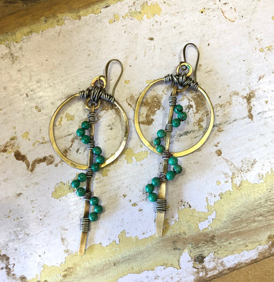 JP Turquoise and Brass Earrings