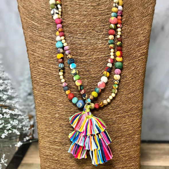 Beaded Kantha Necklace