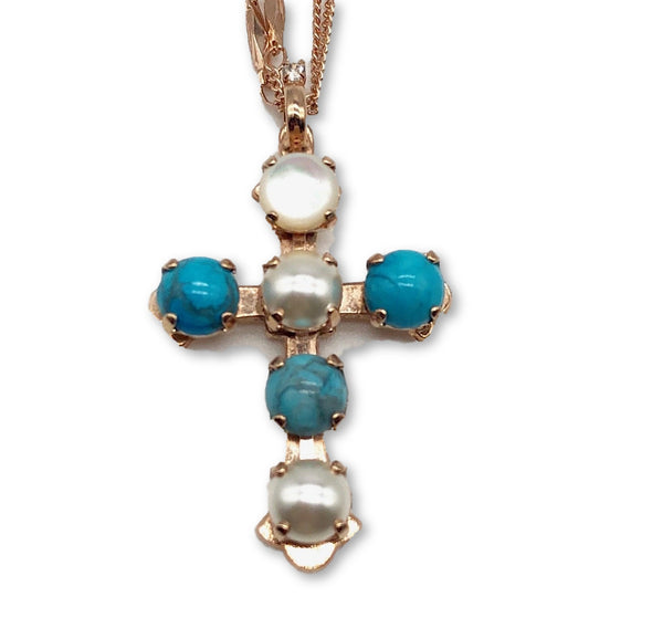 Mariana Chunky Turquoise and Pearl Cross Necklace