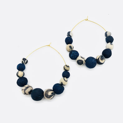 Beaded Indigo Kantha Hoop Earrings