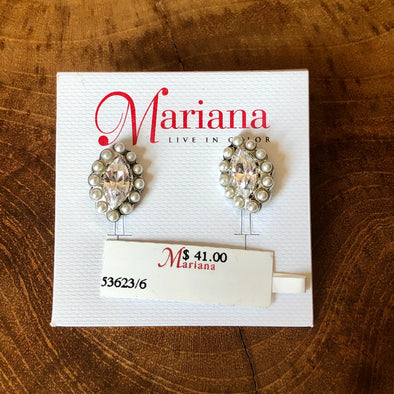 Mariana Crystal and Pearl Post Earring (E46)