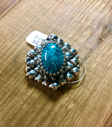 Liquid Metal Turquoise Ring