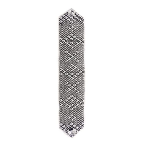 219 Liquid Metal Diamond X Pattern Bracelet