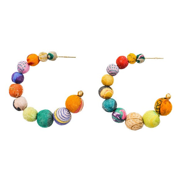 Beaded Kantha Hoop Earrings