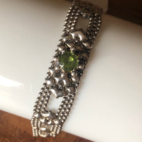 Liquid Metal Green Stone Bracelet