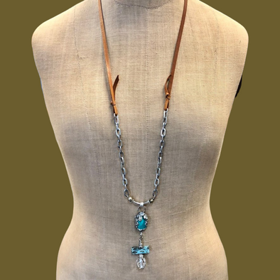 J. Parkes Turquoise Crystal and Leather Necklace
