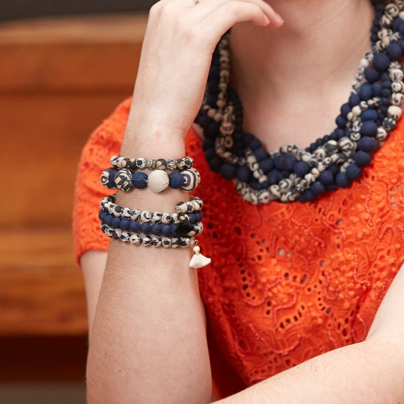 Beaded Indigo Kantha Bauble Bracelet