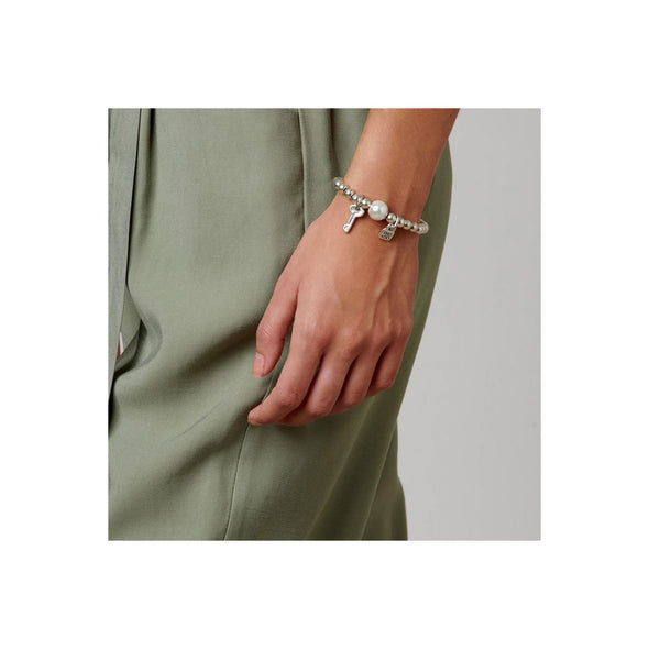 UNOde50 Pearl and Key Ball Chain Bracelet