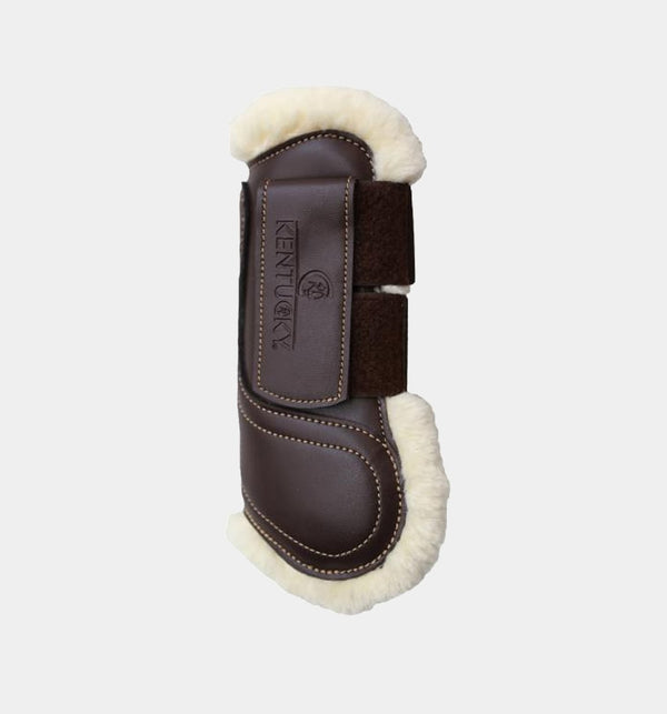 Kentucky Horsewear - Guêtres cheval cuir velcro mouton marron