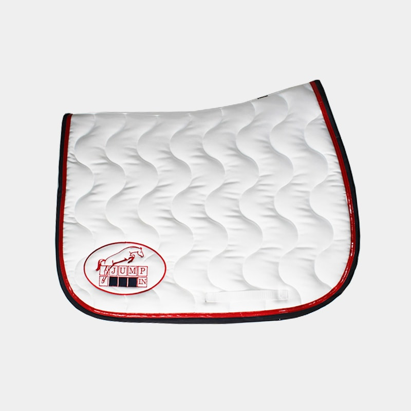 Jump'In - Tapis de selle Blanc / Rouge / Marine | - Ohlala