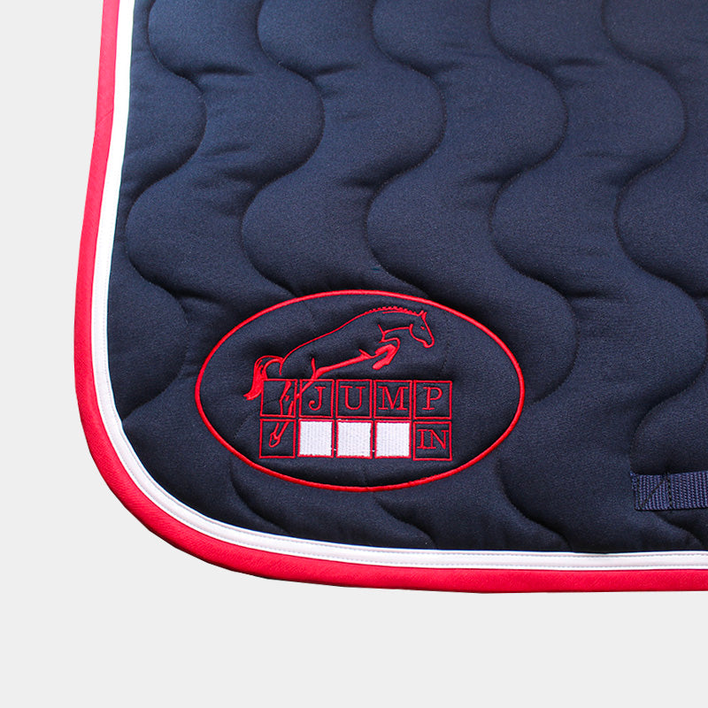 Jump'In - Tapis de selle Marine / Blanc / Rouge | - Ohlala