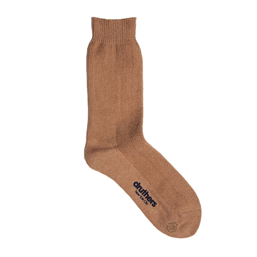 Druthers • Organic Cotton Pique Crew Sock • Brown