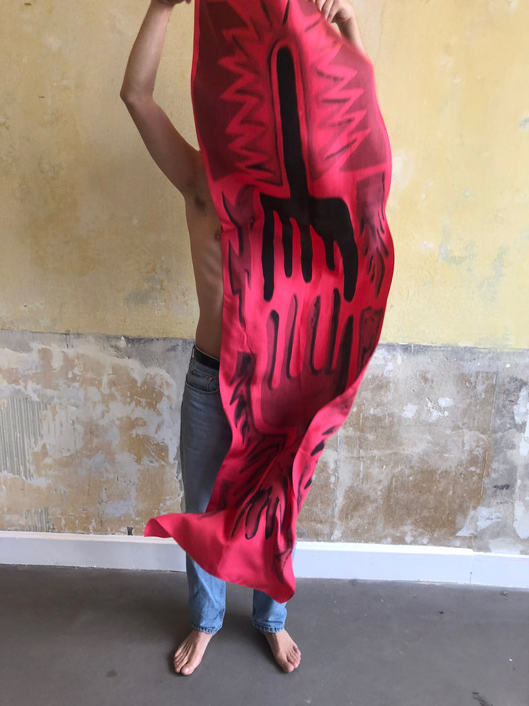 HAND PAINTED SILK SCARF - HANDS -