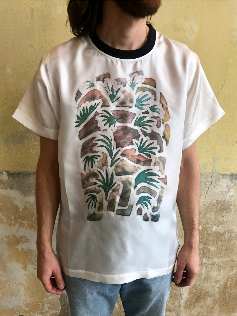 HAND PAINTED SILK T-SHIRT BY YOANN PISTERMAN