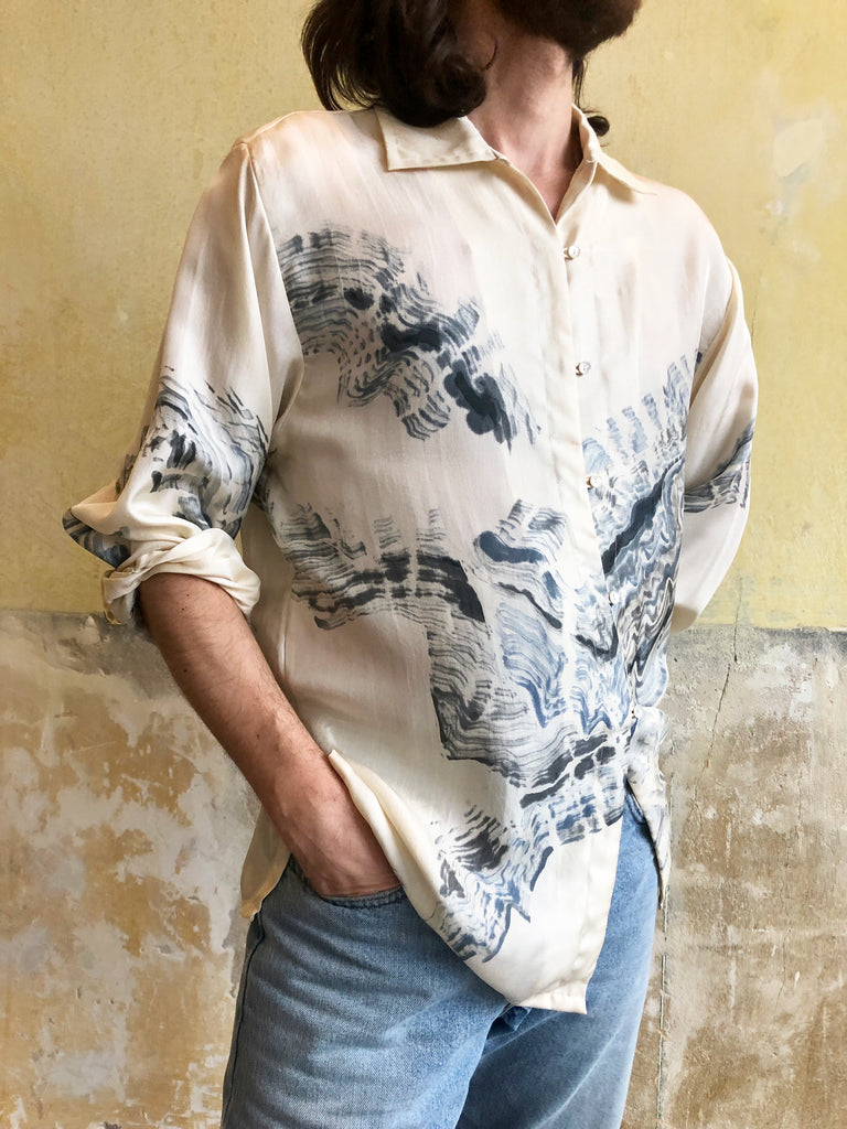 HAND PAINTED SILKSHIRT BY YOANN PISTERMAN