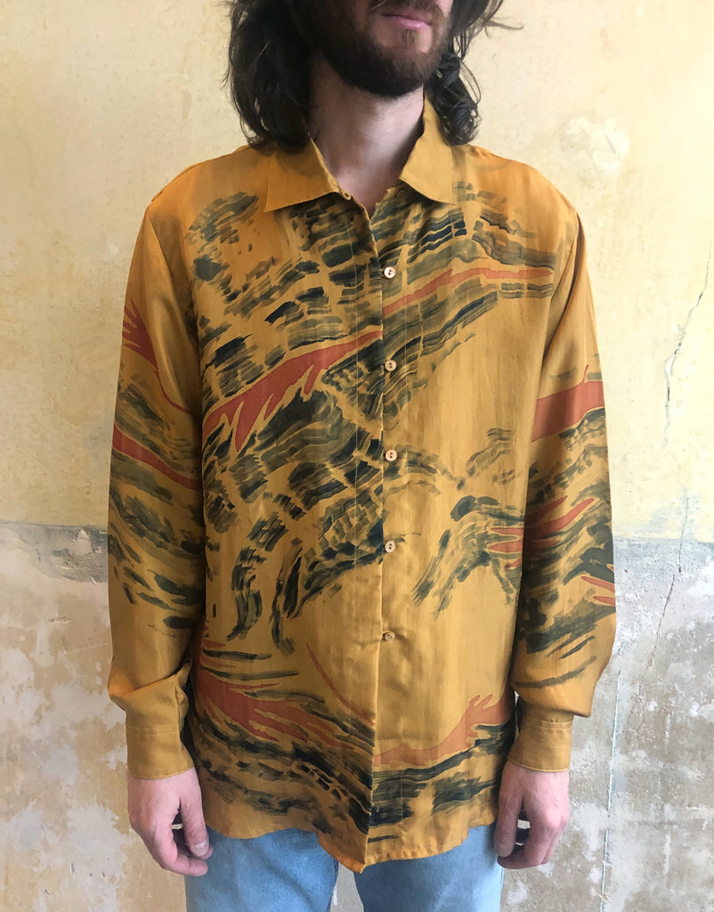 HAND PAINTED SILK SHIRT BY YOANN PISTERMAN