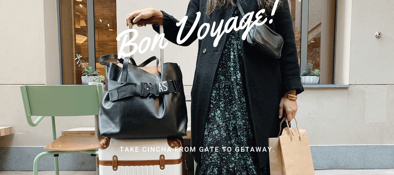 Woman Standing, Luggage, Bon Voyage Caption