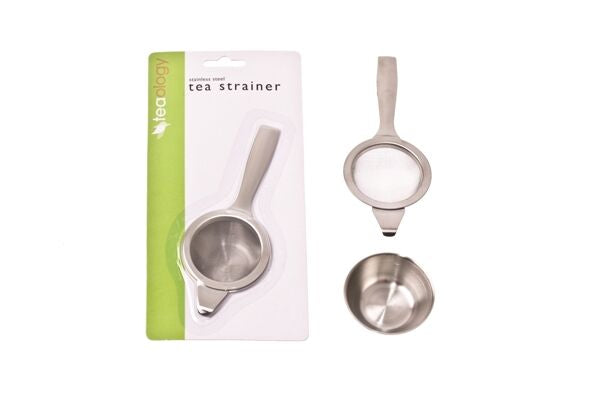 STAINLESS STEEL LONG HANDLE TEA STRAINER+BOWL