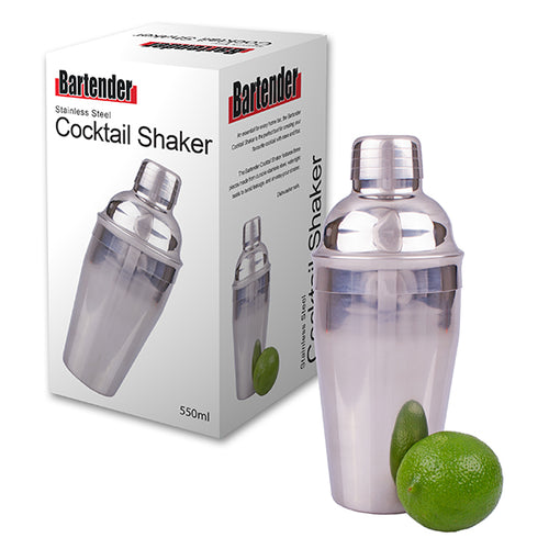 Cocktail Shaker 550ml Stainless Steel Bartender GB