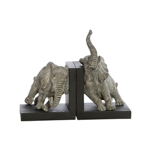 BOOKENDS ELEPHANTS LEANING - GREY