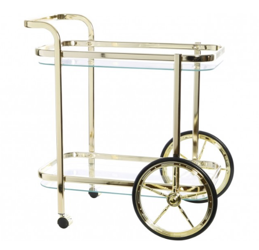 BAR TROLLEY JONES GOLD CLEAR GLASS LARGE WHEELS RECT